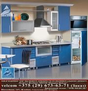 Кухня ДСП фасад Терра голубая кромка металлик